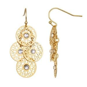 Gold tone filigree drop earrings with glass accent